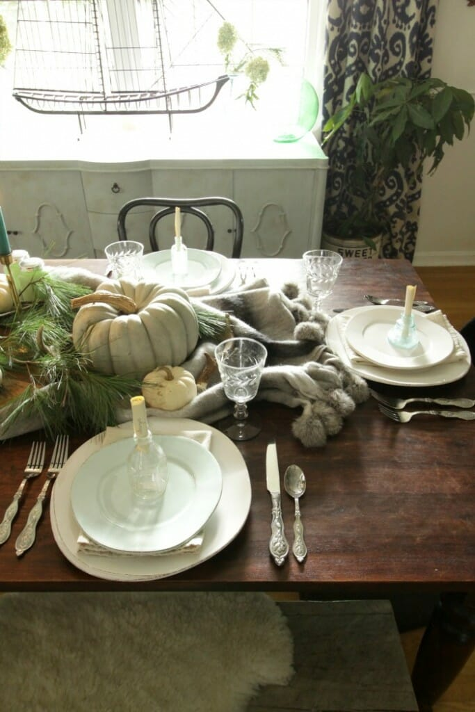 Thanksgiving Table in Blues & Greens