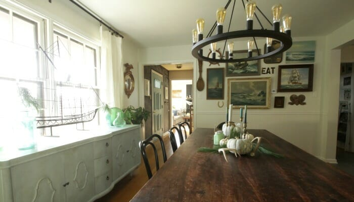 White Rustic & Vintage Dining Room with Soft Blues & Black Accents 4