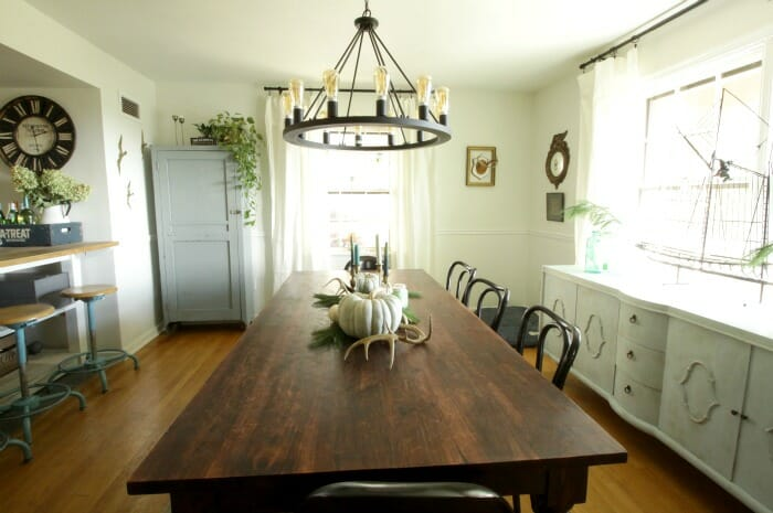 White Rustic & Vintage Dining Room with Soft Blues & Black Accents