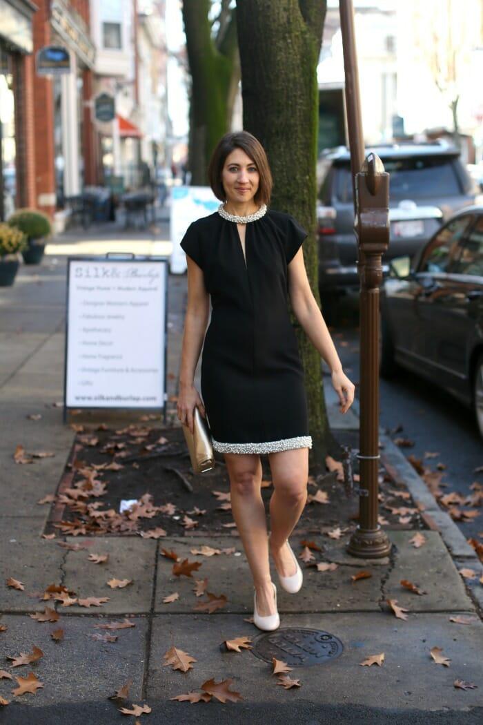 Black Pearl Beaded Dress