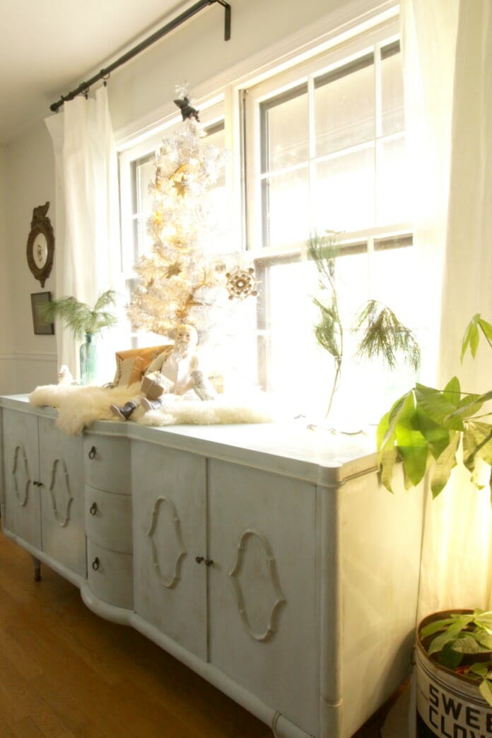 Sideboard decorated for Christmas