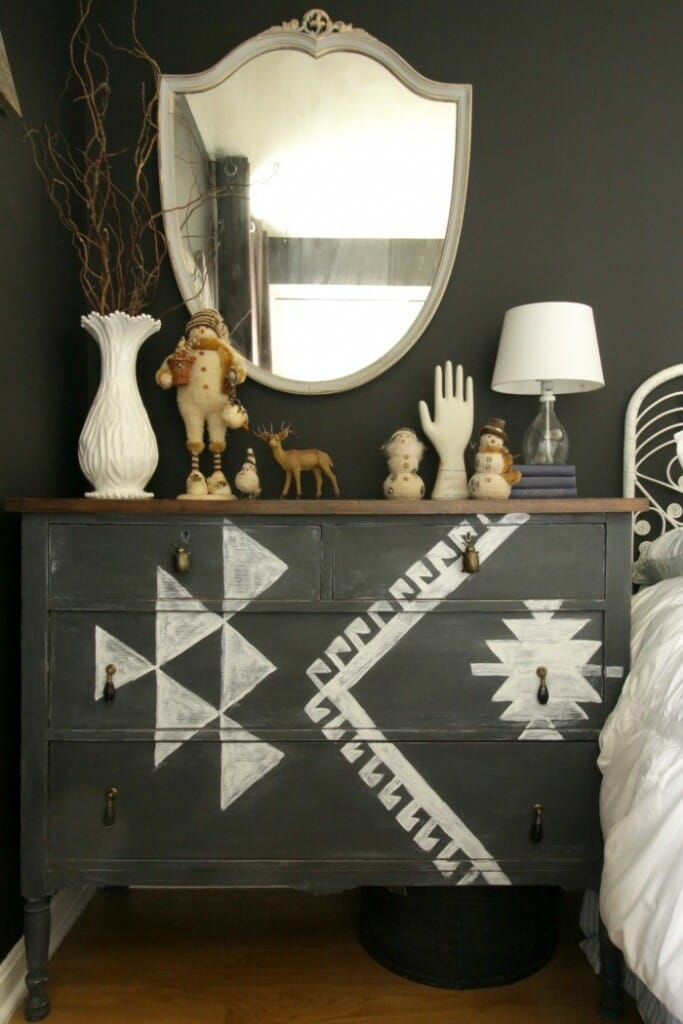 Kilim inspired dresser with vintage snowman decor