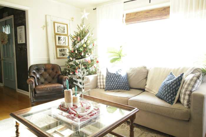 Christmas Tree with Fringe and Beads in Living Room
