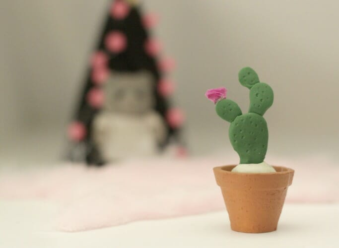 DIY Miniature Clay Cactus in Pot with Tissue Paper Flower