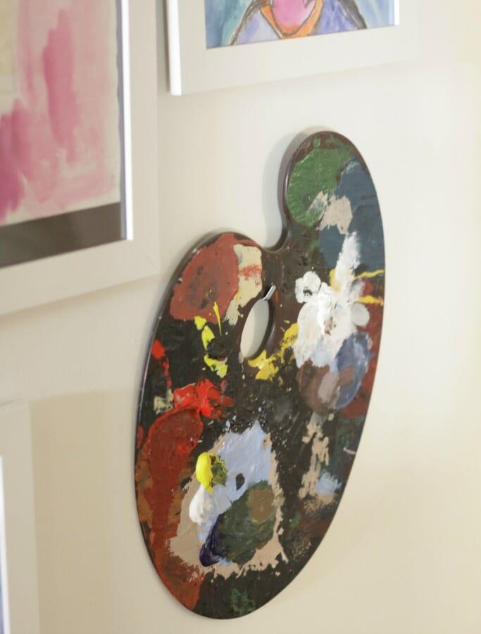 Vintage Palette on kids art gallery wall