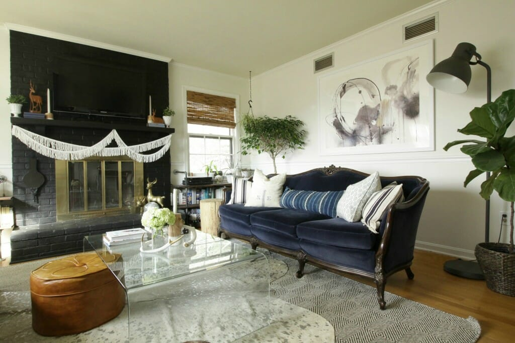 Living Room Art from Minted; eclectic black fireplace, modern boho