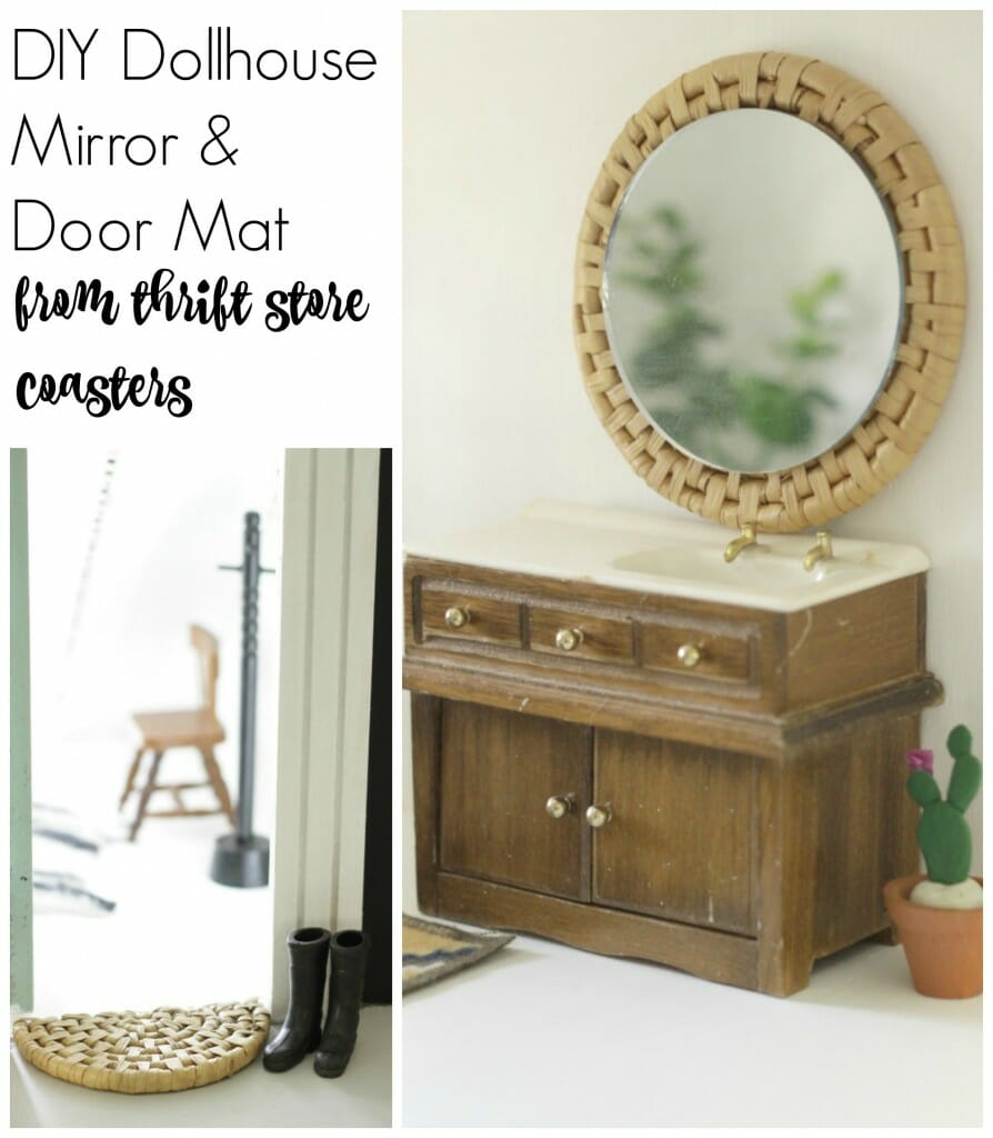 DIY Dollhouse Mirror and Door Mat from thrift store finds