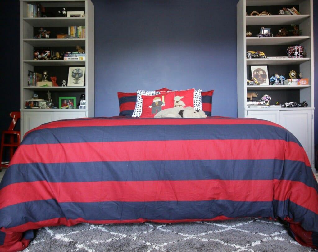 Tween Bedroom in Navy, Red, Gray
