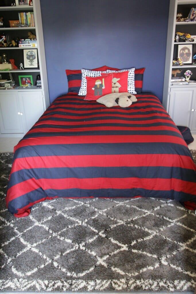 Tween Bedroom in Red Navy Gray