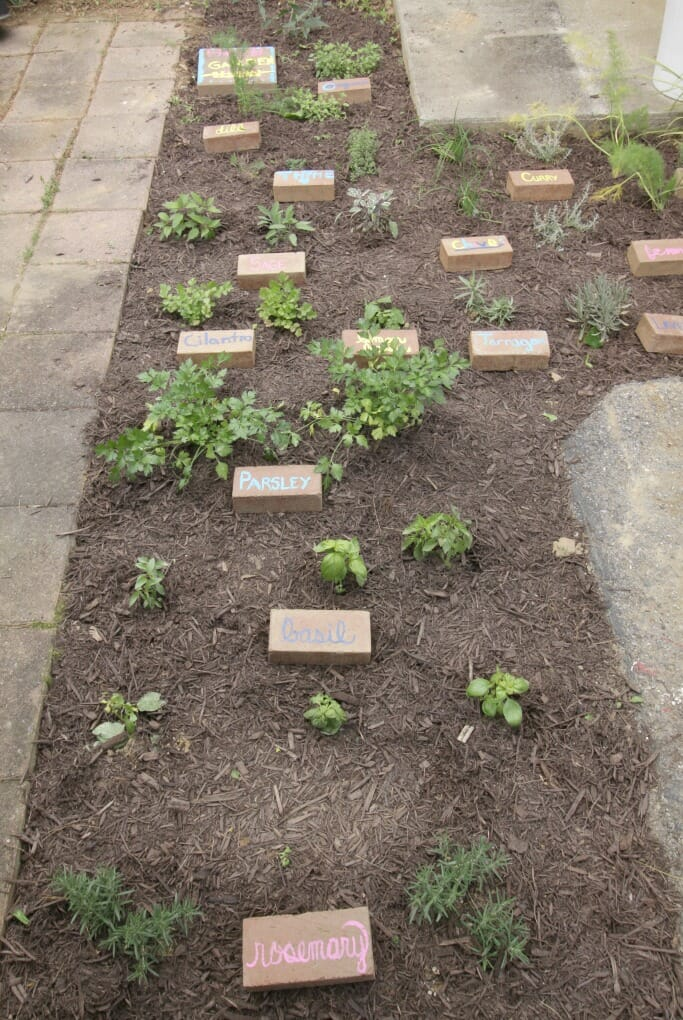 Upcycled Brick Herb Garden Markers