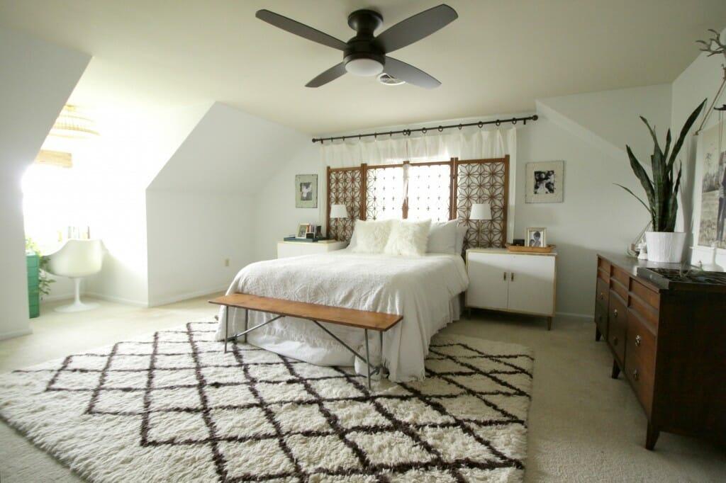 Modern Bohemian Bedroom with Lamps Plus ceiling fan/light combo