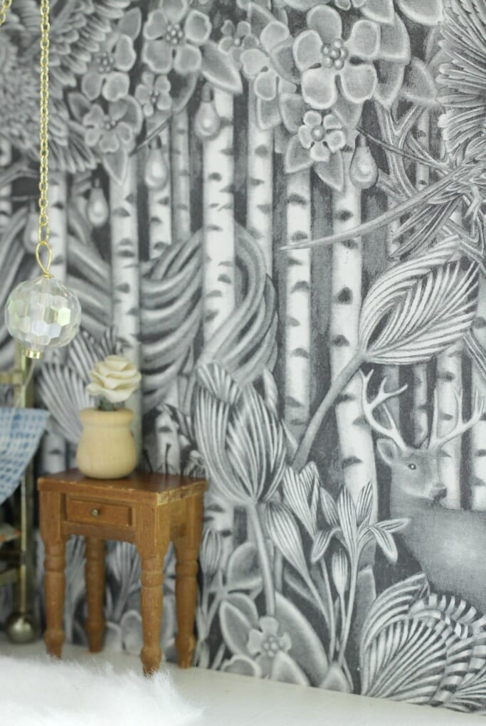 Ikea gift wrap as dollhouse wallpaper