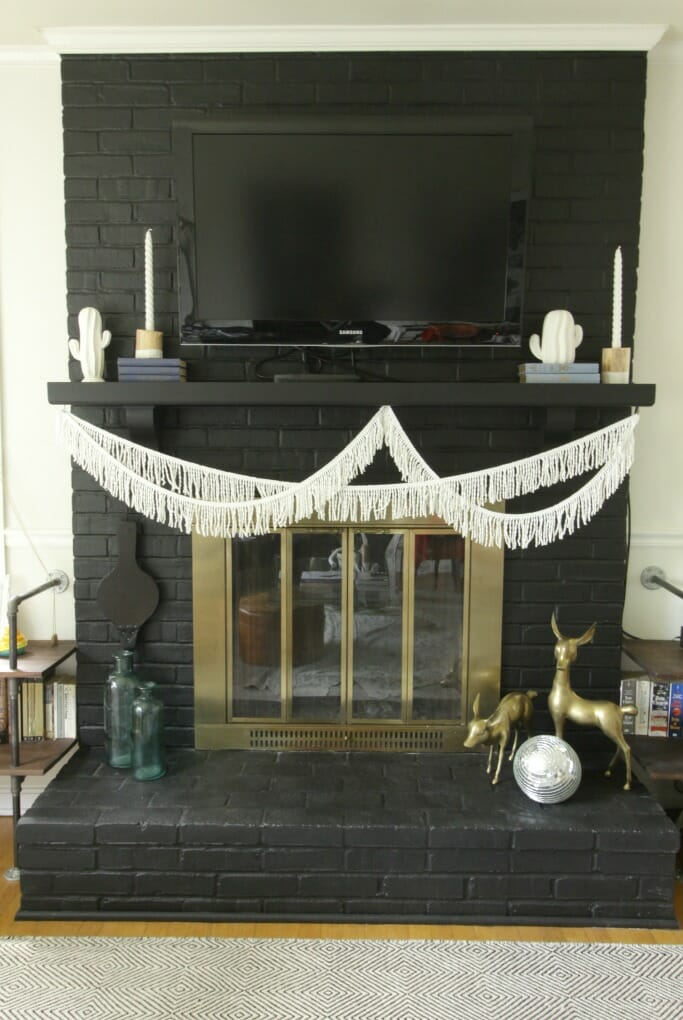 Simple Modern Boho Mantle with White Cacti