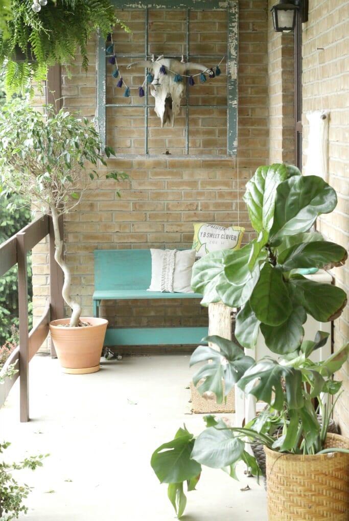Boho Porch with Plants
