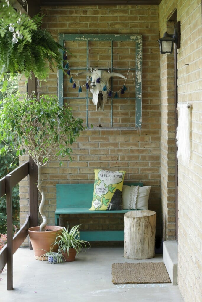 Bohemian entry with teal bench and window, bull skull, spider plant, stump