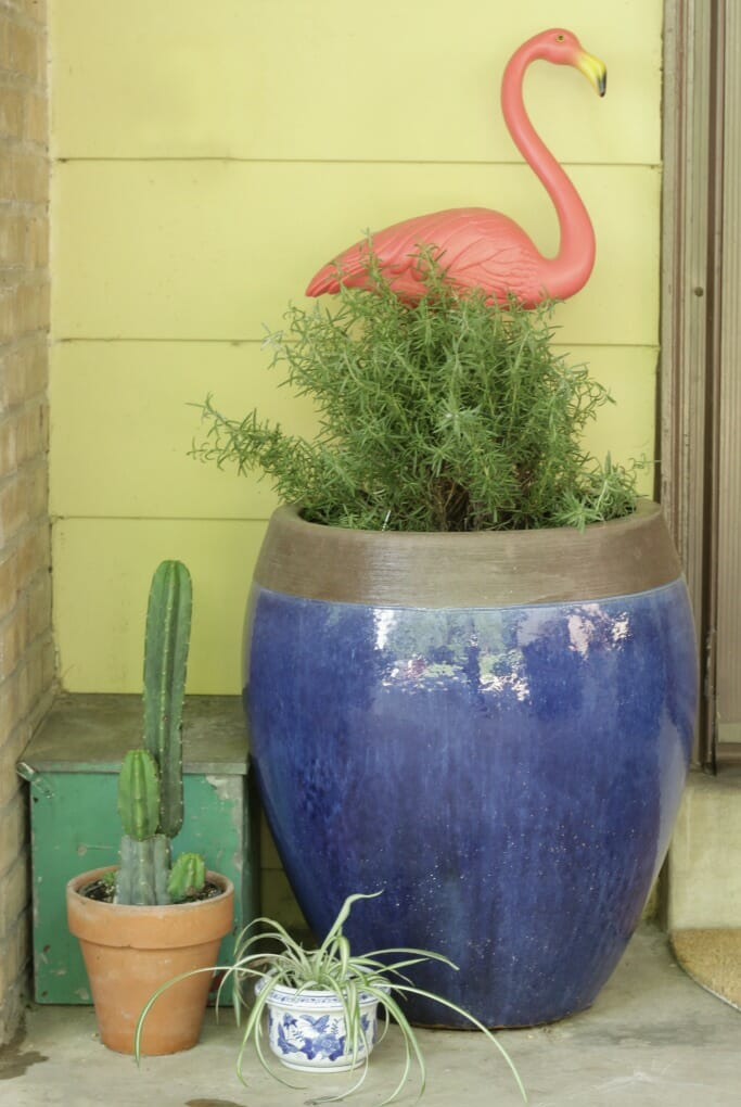 Pink Flamingo in planter