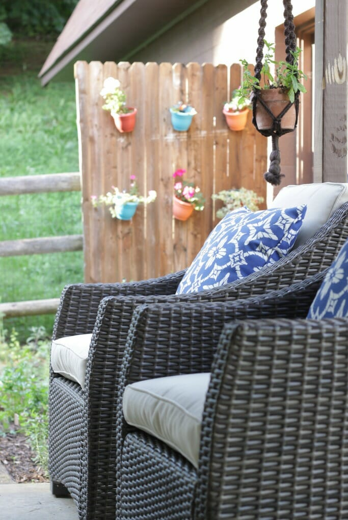 Blue & White Outdoor Pillows on Belvedere chairs