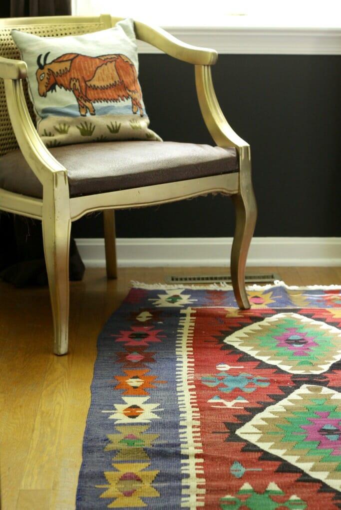 Vintage Kilim Rug in Guest Room