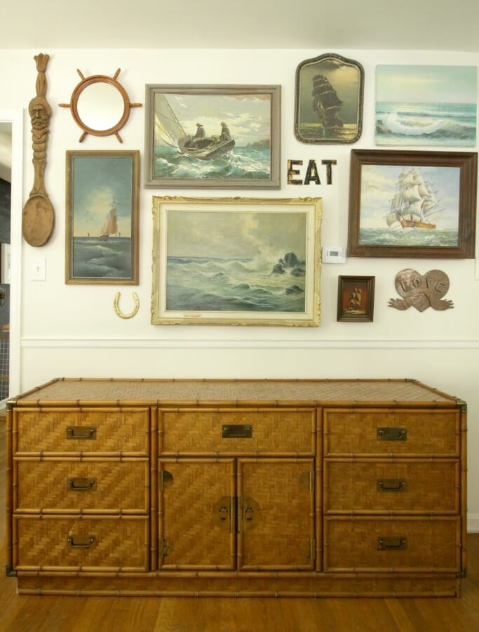 Bamboo Dresser with Nautical Seascape
