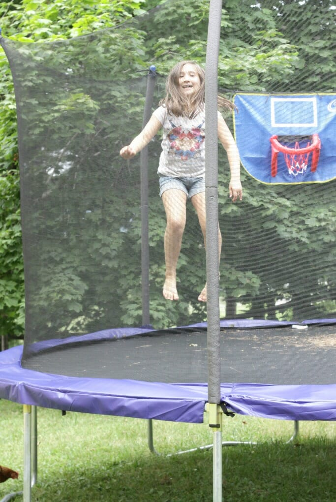 Emmy on the trampoline