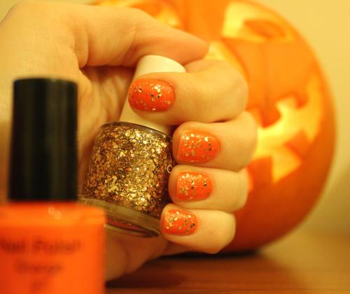 avon nail polish pumpkin halloween nails bonfire christmas orange art glitter