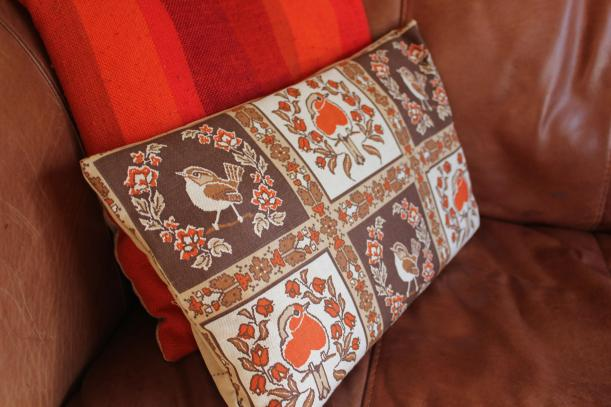 diy craft sewing project RSPB bird cushions with Christmas robins finished pillow