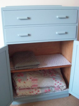 blue blanket cabinet makeover diy furniture project paint wallapaper floral cassiefairy