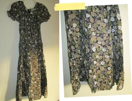 simplicity skirt pattern using charity shop dress fabric sewing construction green floral