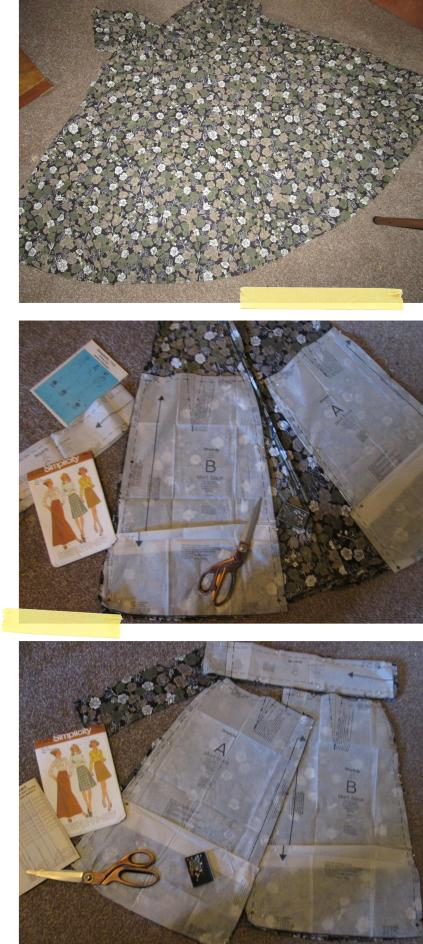 simplicity skirt pattern using charity shop dress fabric sewing construction