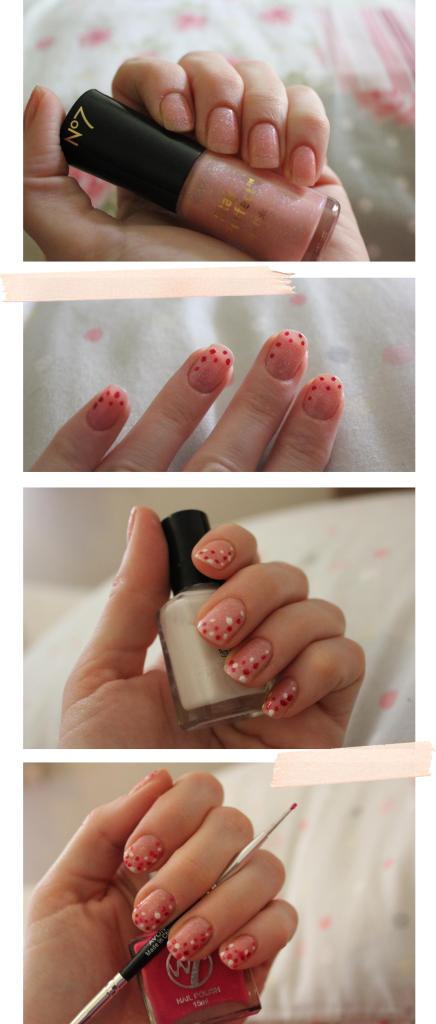 spotty pink confetti nail polish with nail art pen