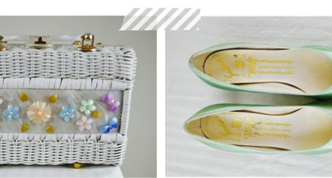 Summer 2013 vintage accessories floral handbag and mint satin shoes from Mela Mela