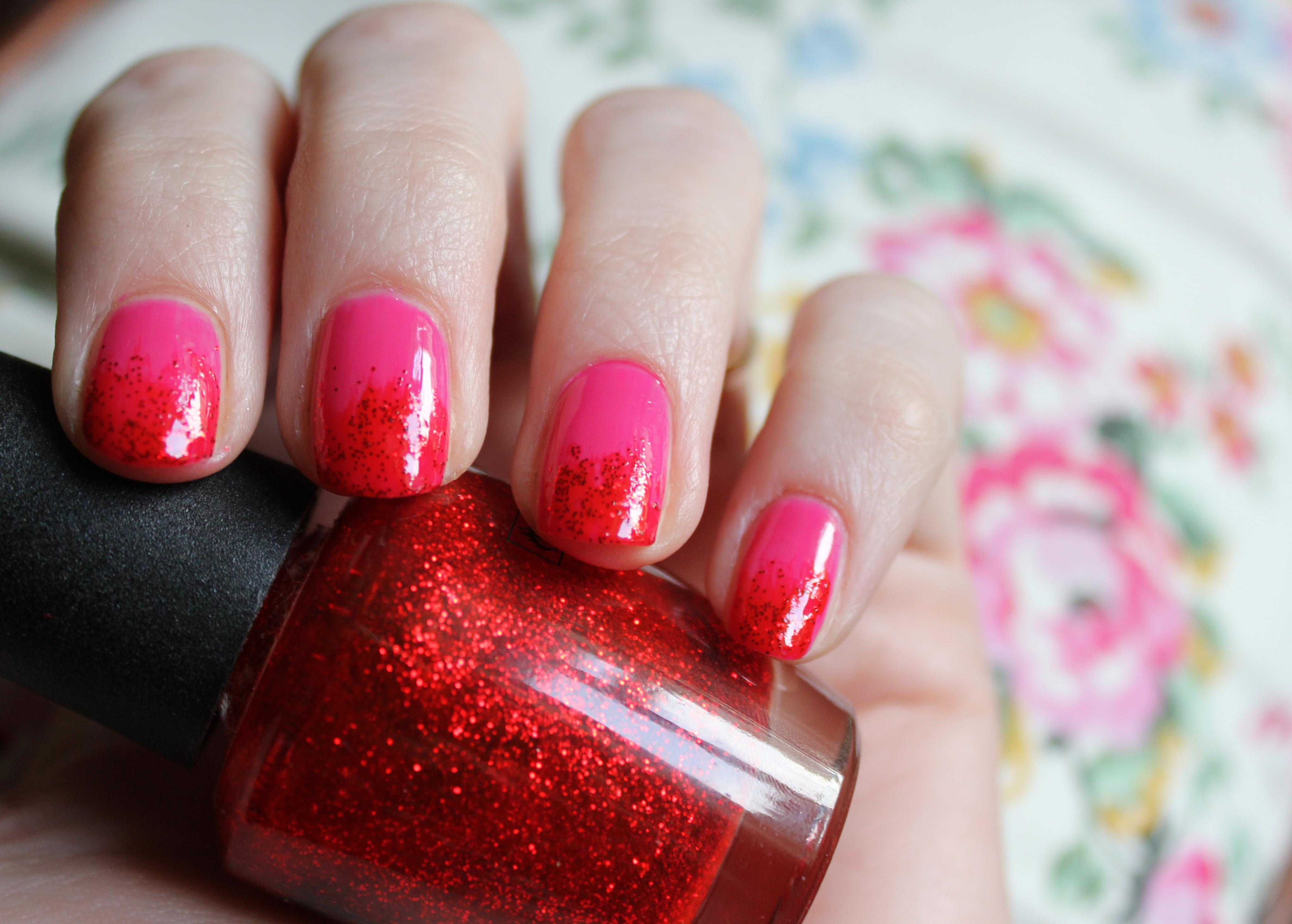 cassiefairy pink and red ombre manicure tutorial tips