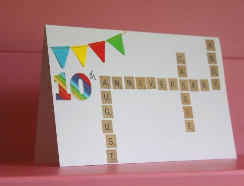 cassiefairys anniversary party invitation for 10th wedding rainbow bunting scrabble