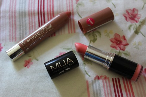 MUA lipstick and power pout tint balm in rendezvous