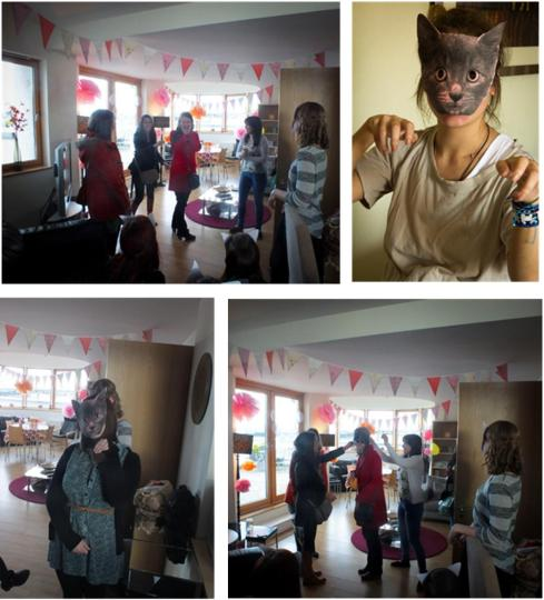 making cat masks for a vintage hen party by laceyinplaces
