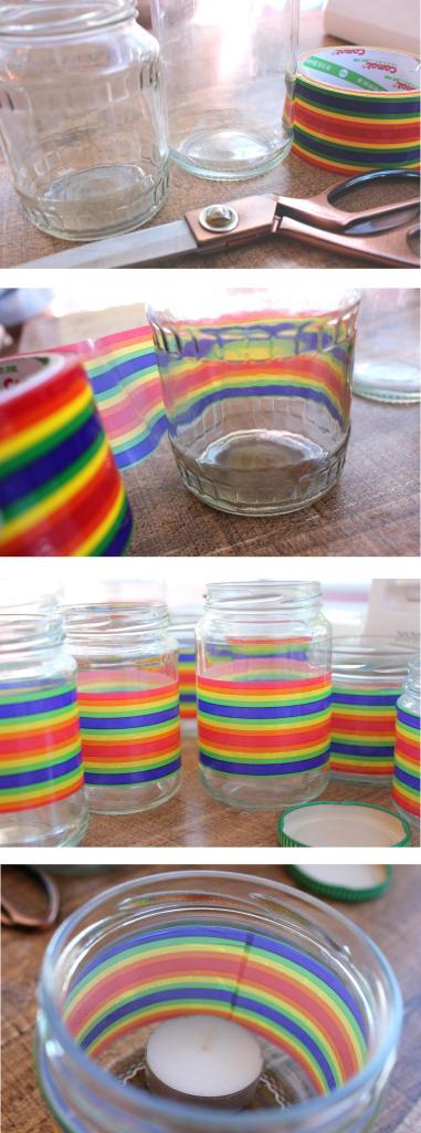 diy rainbow tealight holders for anniversary party
