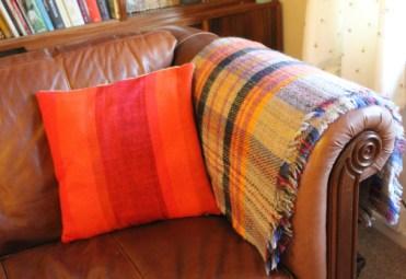 orange-tweed-mill-blanket-knitted-wool-throw-tartan-grey-sofa-retro-dralon-cushion-60s-70s