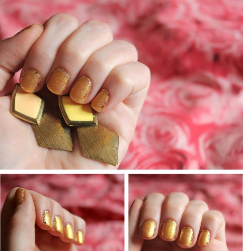 Cassiefairy blog - beauty nail art tutorial for glittlery gold autumn sequin nails with spark jewelry earrings