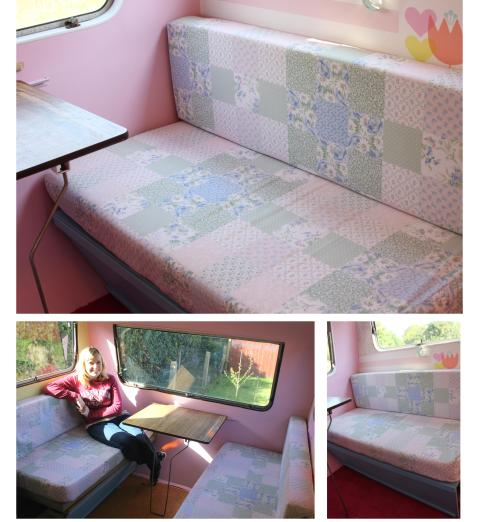 cassiefairys vintage caravan camper project patchwork quilt cushion pads for bench seat