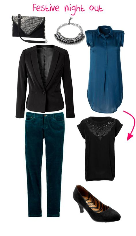 my favourite teal jeans reworked for winter 2013 evening out festive party - my look book using bon prix clothes