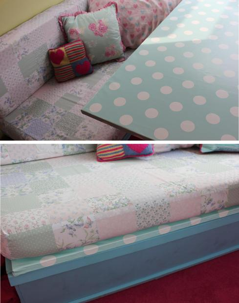 cassiefairys little vintage caravan project - covering a table with spotty oilcloth