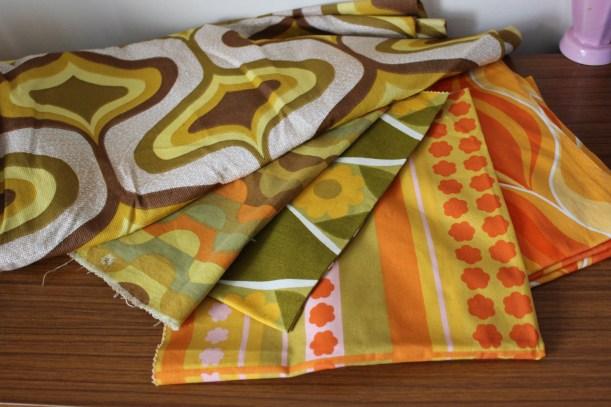 retro 60s 70s fabrics orange green yellow brown pattern