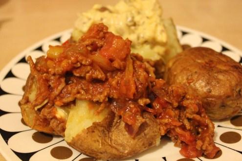 bonfire night chilli con carne and coronation chicken jacket potatoes recipe