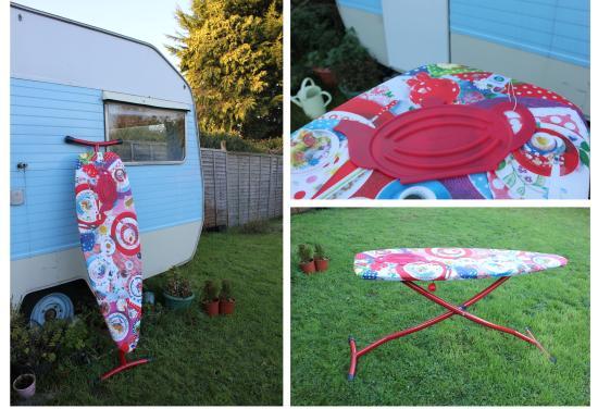 brabantia ironing board outside my vintage caravan sewing room