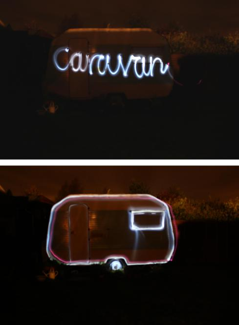 cassiefairy blog outline of caravan using torch light and slow shutter speed photography
