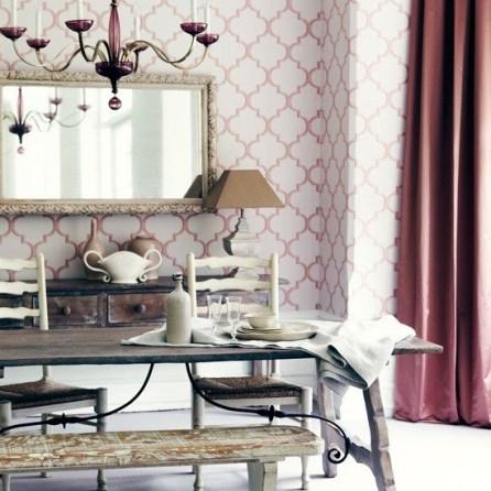 interior decor trend blush pink wallpaper
