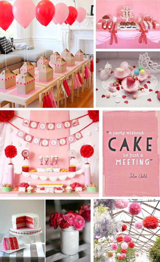 red and pink themed birthday party