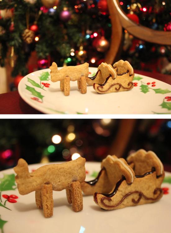 baking a gingerbread sleigh using cookie cutters