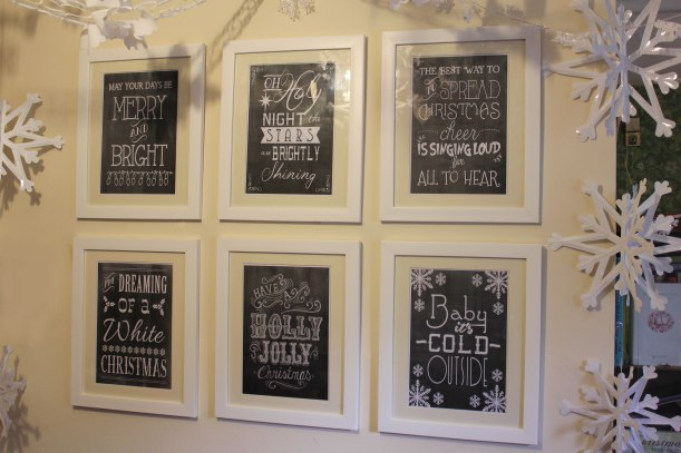 DIY festive decorating with christmas art prints using hardwall takker