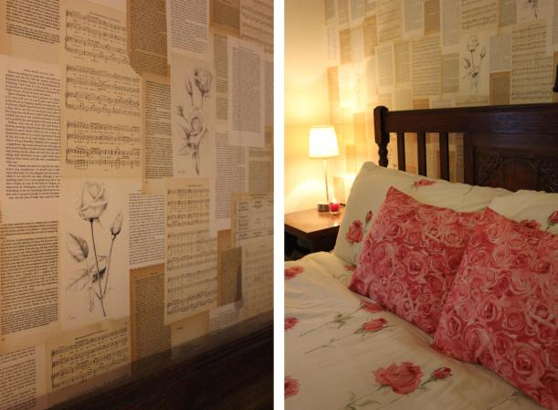 DIY bedroom makeover with old book pages
